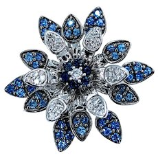 Diamond and Sapphire Spinning Flower Ring