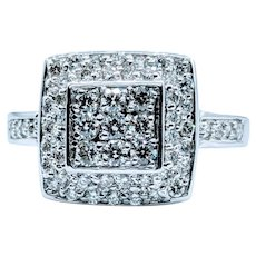 Sparkly Diamond Encrusted White Gold Ring