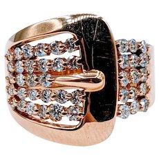 Super Fun 18k Diamond Belt Buckle Ring