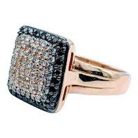 Vtinage Effy White & Black Diamond Cocktail Ring