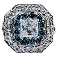 Superb White and Blue Diamond Statement Ring