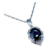 Stunning 1.53ct Blue Sapphire and Diamond Pendant