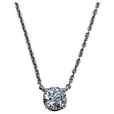 """16"""" .60ct European Cut Diamond Solitaire Necklace"""
