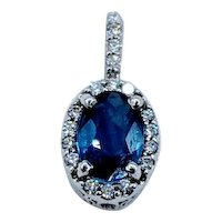 Bright Blue Sapphire and Diamond Pendant