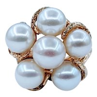 Bold Cultured Pearl Cocktail Ring