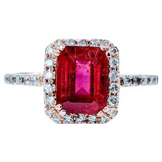 Splendid Emerald Cut Ruby and Diamond Ring