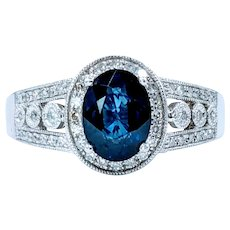 Royal Blue Sapphire & White Diamond Ring