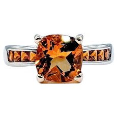 Colorful Golden Citrine and Diamond Cocktail Ring