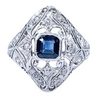 Sophisticated Art Deco Sapphire & Diamond Ring - Platinum