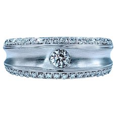 Stylish and Modern Diamond Ring in Brushed White Gold
