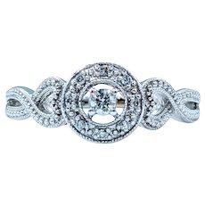 Elegant Diamond Ring with White Gold Milgrain