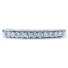 Vintage Diamond and White Gold Milgrain Ring