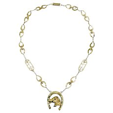"""RARE Salvador Dali """"The Laughing Horse"""" 18K Gold Chain Necklace"""