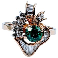 Unique and Stylish Tsavorite and Diamond Ring
