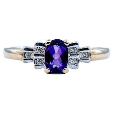 Royal Purple Amethyst and Diamond Ring