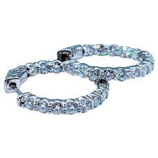 Stunning Hoop Earrings with 3ctw White Diamonds