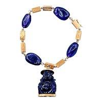 Heavy 18K Gold and Carved Amethyst Buddha Bracelet
