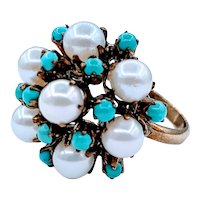 Turquoise and Pearl Vintage Bohemian Cocktail Ring