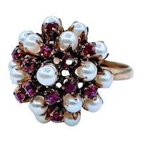 Ruby and Pearl Vintage Bohemian Cocktail Ring