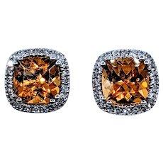 Stunning Golden Citrine and Diamond Stud Earrings