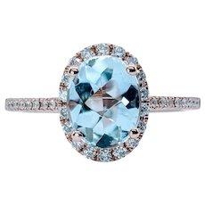 Stunning Classic Aquamarine and White Diamond Ring
