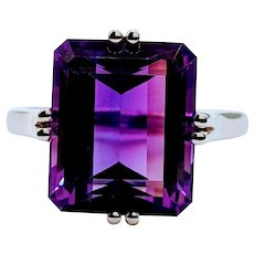AAA Quality Royal Purple Amethyst Cocktail Ring