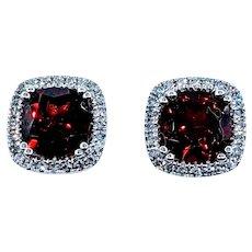 Tasteful Garnet and White Diamond Stud Earrings