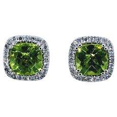 Sparkling Peridot and White Diamond Stud Earrings