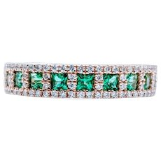 Regal Princess Cut Emerald and Diamond Band