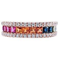 "Fabulous Multi-Colored Sapphire ""Rainbow"" Ring"