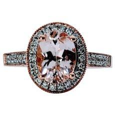 Sparkling Morganite and Diamond Cocktail Ring