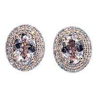 Stunning Morganite & Diamond Double Halo Stud Earrings