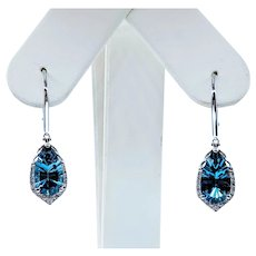 Stunning London Blue Topaz and White Diamond Drop Earrings