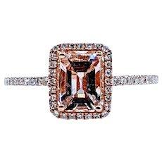 Emerald Cut Morganite and White Diamond Cocktail Ring