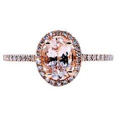 Gorgeous Morganite, Diamond & Rose Gold Dress Ring