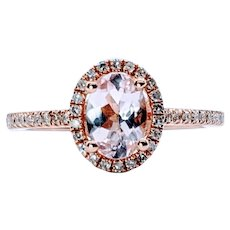 Classy Oval-Cut Morganite and Diamond Ring