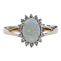 Colorful Opal and White Diamond Cocktail Ring
