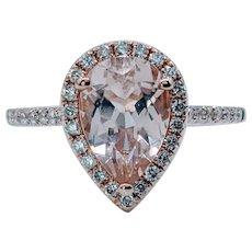 Charming Pear-Cut Morganite and Diamond Ring