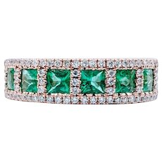 Beautiful Emerald, White Diamond and Rose Gold Ring