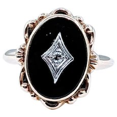 Antique Onyx and White Diamond Cocktail Ring