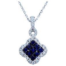 Stunning Invisible Set Sapphire and Diamond Pendant Necklace