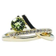 Unique and Stylish Peridot and Diamond Ring