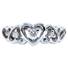 Solid Gold and White Diamond SweetHeart Ring