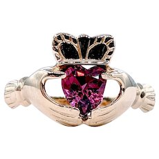Solid Gold and Gemstone Claddagh Ring