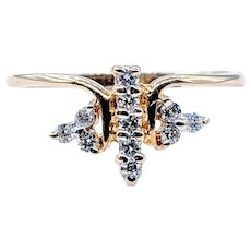 Delicate Gold and Diamond Dragonfly Ring