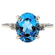Attractive Swiss Blue Topaz and Diamond Cocktail Ring