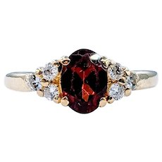 Radiant Garnet and Diamond Cocktail Ring