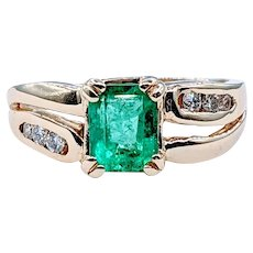Stylish Emerald and Diamond Ring
