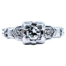 Antique Diamond & 18K White Gold Engagement Ring