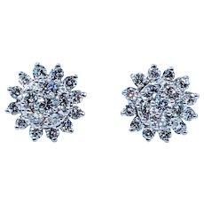 Shimmering 1/2 Carat Diamond Cluster Stud Earrings
